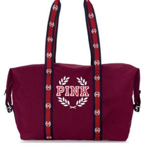 Victoria's Secret Burgundy Embroidered Duffle Bag